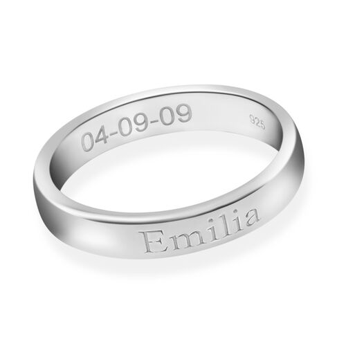 Personalise Engraved 4mm Secret Message Band Ring in Silver