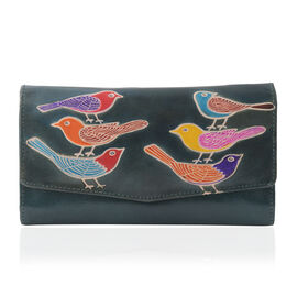 100% Genuine Leather Teal Colour Handpainted Sparrow Pattern Wallet with RFID Blocking (Size 21x12 Cm)
