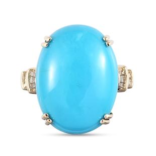 9K Yellow Gold AA Arizona Sleeping Beauty Turquoise and Diamond Ring 12.46 Ct.