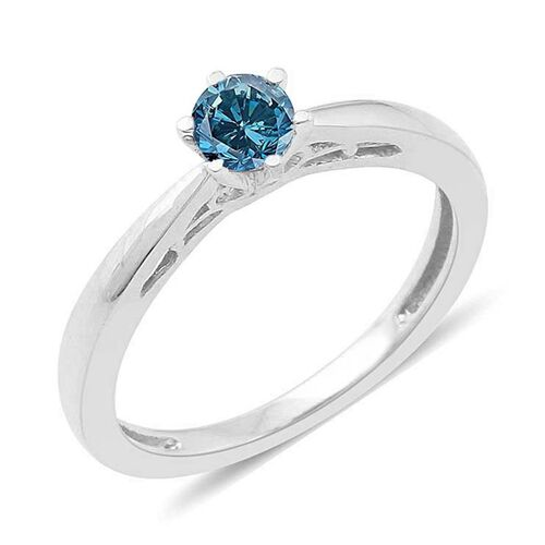 Blue diamond (Rnd) Solitaire Ring in Platinum Overlay Sterling Silver 0.250 Ct.