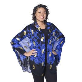 LA MAREY 100% Mulberry Silk Dark Blue Scarf with Golden Embroidery (180x110cm)