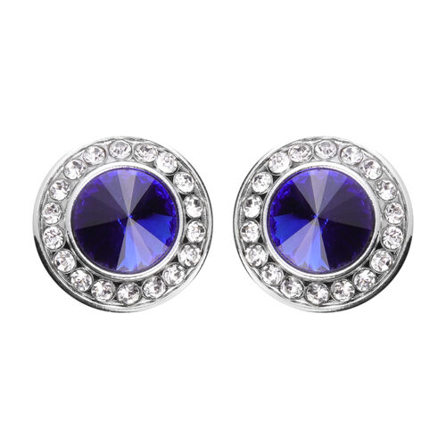 Simulated Blue Sapphire and White Austrian Crystal Cuff Button Cover in Silver Tone