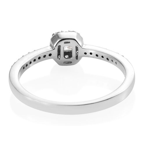 J Francis - Platinum Overlay Sterling Silver (Sqr) Ring Made with SWAROVSKI ZIRCONIA.