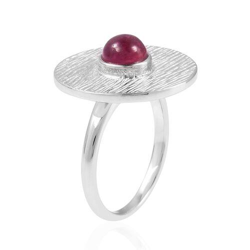 RACHEL GALLEY African Ruby (Rnd) Ring in Rhodium Overlay Sterling Silver 1.470 Ct, Silver wt 6.57 Gms.