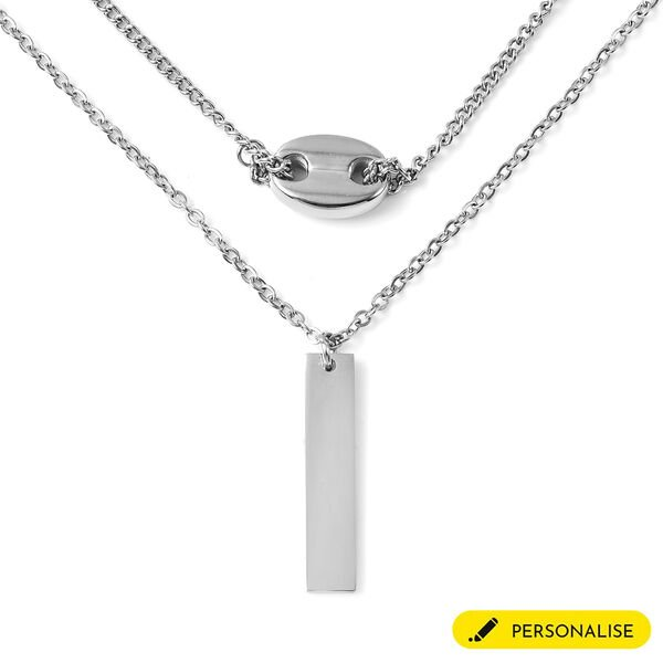 Personalised Engravable Bar Necklace, Size 16+2 Inch, Stainless Steel