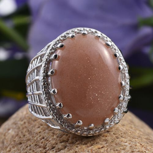 Morogoro Peach Sun Stone (Ovl) Ring in ION Plated Platinum Bond 16.000 Ct.