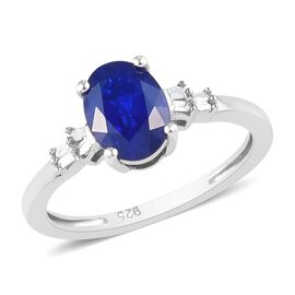 Tanzanian Blue Spinel and Diamond Ring in Platinum Overlay Sterling Silver 1.50 Ct.