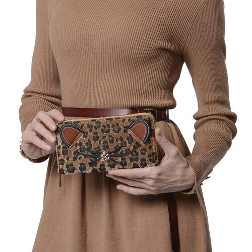 Brown Leopard Pattern with Ears and Nose Details Clutch Wallet (Size 19.5x3x9.5cm) with Zipper Closure in Gold Tone