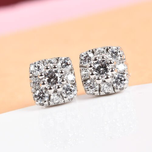 J Francis - Platinum Overlay Sterling Silver Stud Earrings (with Push Back) Made with SWAROVSKI ZIRC