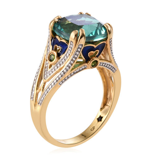 GP Peacock Triplet Quartz (Cush 7.55 Ct), Russian Diopside and Kanchanaburi Blue Sapphire Enameled Ring in 14K Gold Overlay Sterling Silver 7.750 Ct. Silver wt 5.58 Gms.