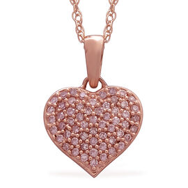 0.50 Ct Natural Pink Diamond Cluster Heart Pendant With Chain in 9K Rose Gold