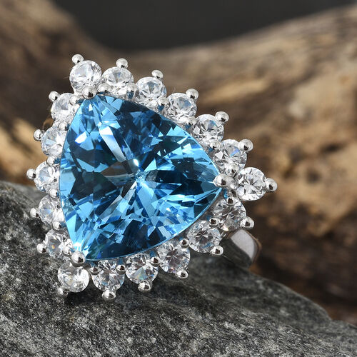 TJC Launch - Marambaia Topaz (Trl 12.00 Ct), Natural Cambodian Zircon Ring in Platinum Overlay Sterling Silver 15.000 Ct.