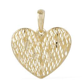 Ottoman Treasure 9K Yellow Gold Diamond Cut Heart Pendant