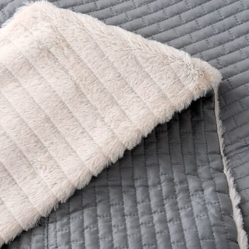 Matt Sateen Woven Quilted Blanket with Faux Fur Border in Teal Colour (150x200 cm)