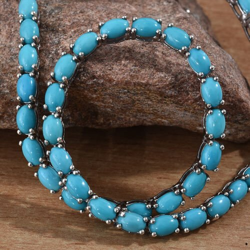 Arizona Sleeping Beauty Turquoise (Ovl 6x4 mm) Necklace (Size 18) in Platinum Overlay Sterling Silver 31.000 Ct, Silver wt 19.33 Gms.