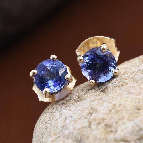 9K Yellow Gold AA Tanzanite (Rnd) Stud Earrings (with Push Back) 1.000 Ct.