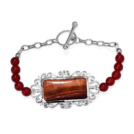36.25 Carat Red Tiger Eye and Agate Beaded Bracelet in Platinum Plated 7.5 Inch