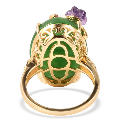 Jardin Collection - Green Jade, Amethyst and Multi Gemstone Enamelled Floral Ring in Yellow Gold Overlay Sterling Silver 27.71 Ct, Silver wt 5.63 Gms