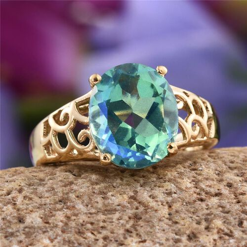 Peacock Quartz (Ovl) Solitaire Ring in 14K Gold Overlay Sterling Silver 5.000 Ct.