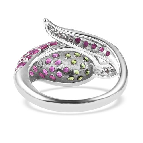 GP African Ruby (Rnd), Multi Gemstone Chilli Pepper Design Ring in Rhodium Overlay Sterling Silver 4.15 Ct.