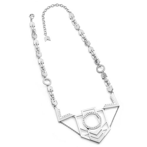 LucyQ Large Art Deco Necklace (Size 16 with 4 inch Extender) in Sterling Silver 55.00 Gms.