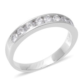 ELANZA Simulated Diamond (Rnd) Ring in Rhodium Overlay Sterling Silver, Silver wt 3.08 Gms.