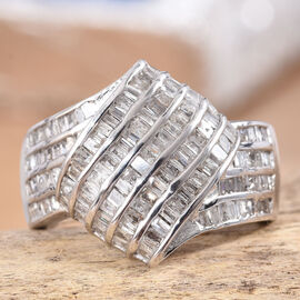 1 Carat Diamond Cluster Ring in Platinum Plated Sterling Silver 5 Grams
