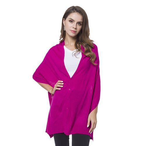 Designer Inspired Dark Pink Colour Buttons Embellished Shawl (Size 156X50 Cm)
