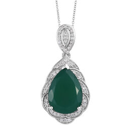15.33 Ct Verde Onyx and Natural Cambodian Zircon Halo Pendant with Chain in Sterling Silver