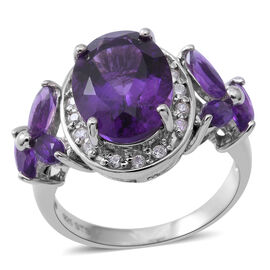 7.33 Ct Lusaka Amethyst and Zircon Halo Ring in Rhodium Plated Silver 5.94 Grams