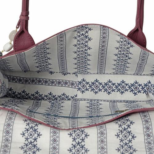 100% Genuine Leather RFID Blocker Burgundy Colour Handbag with Gemstone Adorned Tassel Charm (Size 32X25X8 Cm)