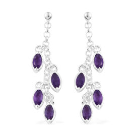 Amethyst (Mrq) Dangle Earrings (with Push Back) in Sterling Silver 2.000 Ct. Silver wt 4.49 Gms.