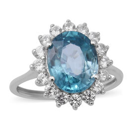 9K White Gold Ratanakiri Blue Zircon and Natural Cambodian White Zircon Floral Halo Ring 5.00 Ct.