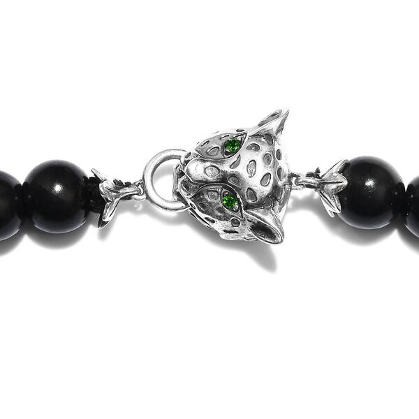 Shungite (Rnd 10mm), Russian Diopside Leopard Head Beads Necklace (Size 20) in Sterling Silver 249.98 Ct.