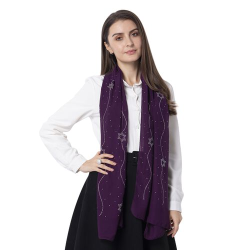 Star Pattern Crystal Embellished Purple Scarf (Size 80 x 50 Cm)