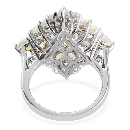 Ethiopian Welo Opal Cluster Ring in Platinum Overlay Sterling Silver 3.00 Ct.