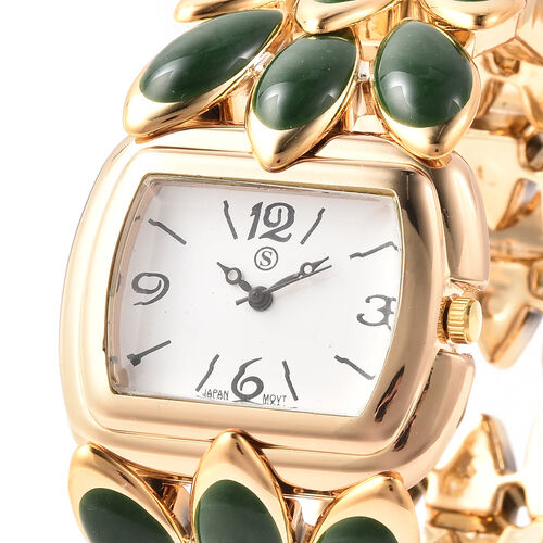 2 Piece Set - STRADA Japanese Movement Water Resistant Adjustable Watch with Floral Petal Design Strap and Green Agate Stretchable Bracelet (Size 6.5-7) with Butterfly Charm in Gold Tone 125.00 Ct.