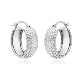 JCK Vegas Collection 9K White Gold Diamond Cut Hoop Earrings (with Clasp), Gold wt 2.00 Gms