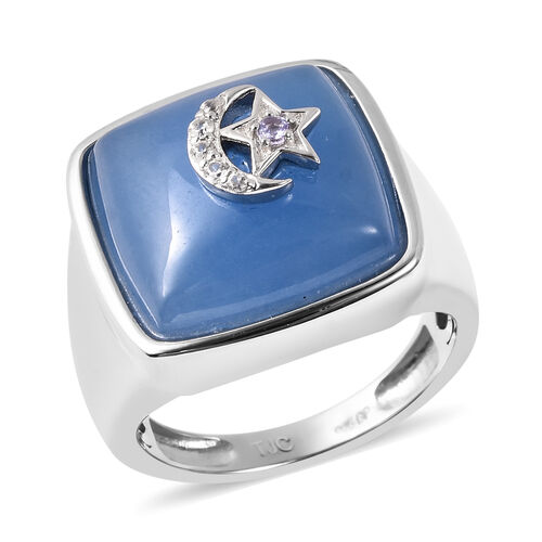 GP - Blue Jade, Tanzanite, Natural Cambodian Zircon and Blue Sapphire Crescent Moon and Star Ring in