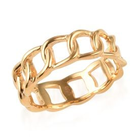 14K Gold Overlay Sterling Silver Curb Band Ring