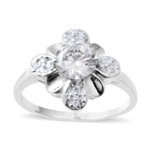 ELANZA Simulated Diamond (Rnd) Ring in Rhodium Overlay Sterling Silver
