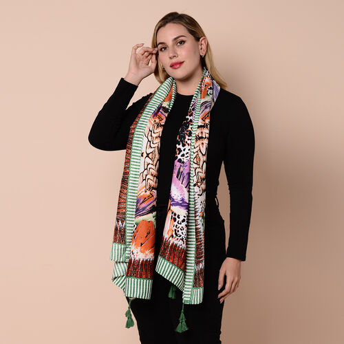 Close Out Fashion Scarf  / Sarong  in Wing Pattern (Size 180x90cm) with Tassels - Purple, Green and Multi Colour