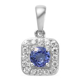 9K White Gold AA Tanzanite (Rnd), Natural Cambodian Zircon Pendant  0.65 Ct.