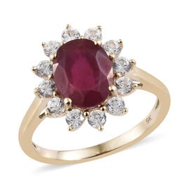 Designer Inspired 9K Yellow Gold AA African Ruby (Ovl 9x7mm), Natural Cambodian White Zircon Floral Ring 4.500 Ct.