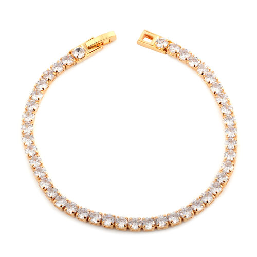 Simulated Diamond (Rnd) Bracelet (Size 7.75) in Yellow Gold Plated
