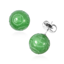 Carved Green Jade Stud Earrings (with Push Back) in Rhodium Overlay Sterling