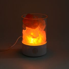 Himalayan Rock Salt Lamp with USB Cable (Size 14x9.4x6.4 Cm) - White