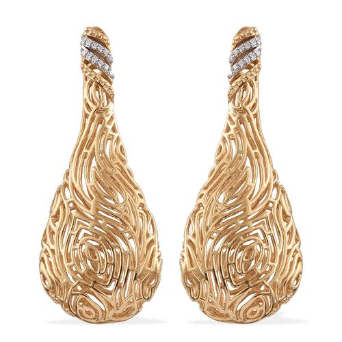 J Francis - 14K Gold Overlay Sterling Silver (Rnd) Filigree Earrings (with Push Back) Made with SWAROVSKI ZIRCONIA.Silver Wt 10.00 Gms