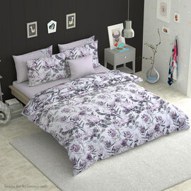 6 Piece Set - Protea Flower Pattern Comforter, Fitted Sheet, 2 Pillow Case and 2 Envelope Pillow Cas