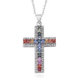 3.26 Ct AA Rainbow Sapphire and Zircon Cross Pendant with Chain iin Rhodium Plated Silver 18 Inch